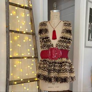 Forever 21 fuzzy animal print vest size 3x